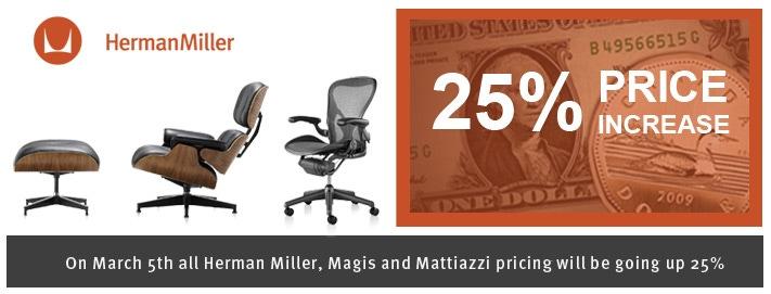 Herman Miller 25 Percent price increase